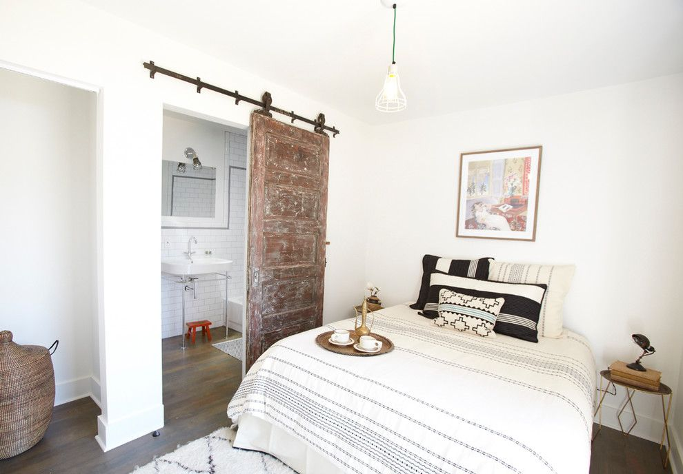 Sliding Doors Interior Design Ideas in the calm white interior with vintage styled door
