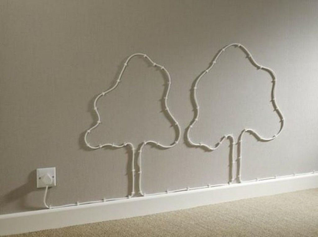 Wires and Cords as Interior Decorating Ideas twop create a trees from cable