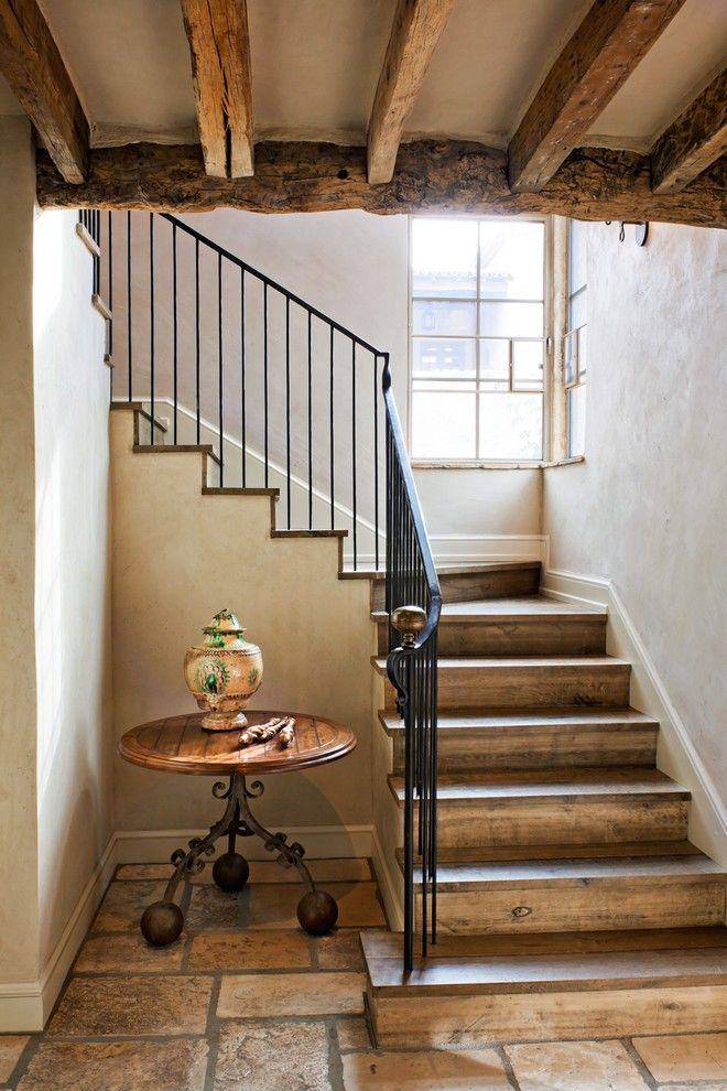 Modern Interior Staircase Materials Photo. two runs of the classic staircase on the small area with metal handrails