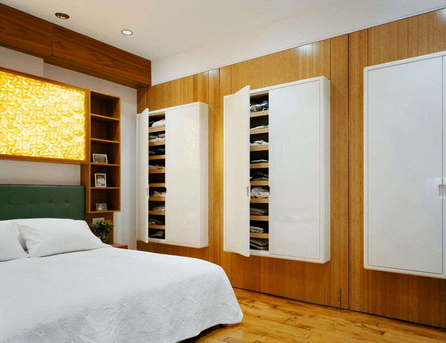 Dream Bedroom Wardrobe Decorating Ideas . Originally designed and mounted white little clothes cabinets on the laquer wood veneered wall