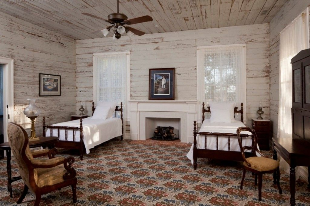 Rugs, Carpet, Carpeting Interior Design Ideas. Rustic ambience of the bedroom for two is warmed up with floor pattern