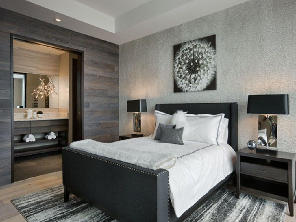 Bedroom Interior Furniture Set Programme Ideas on the example of the contrasting bedroom with picture of dandelion