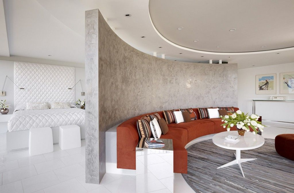 Interior Partitions Room Zoning Design Ideas. Rounded divider of the resting zone in the apartment