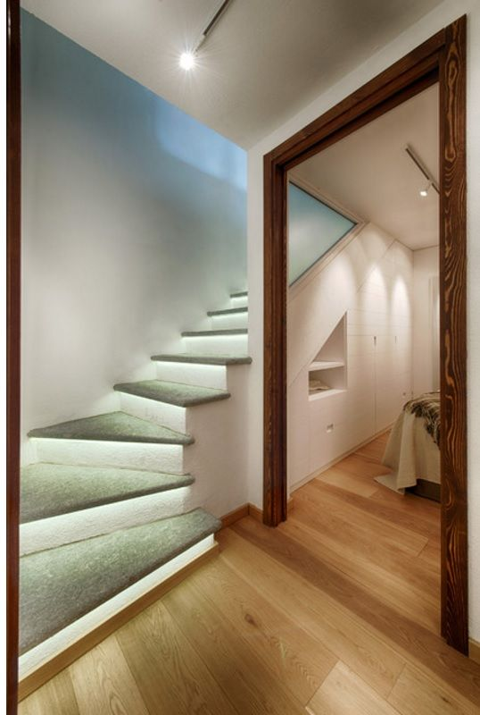Interior Staircase Original Design Ideas. Flying stairs effect with the proper backlighting