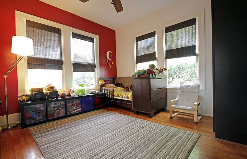 Red Color Interior Design Ideas. Spacious kids` room with differently painted walls