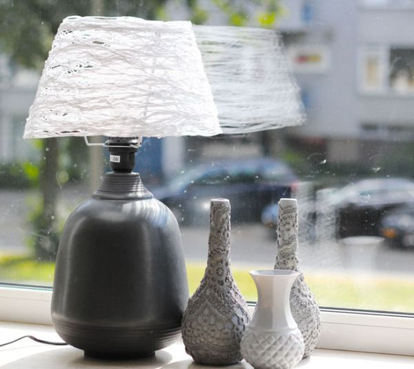 DIY Lampshade Interior Decorating Element. Comparing lamp with woven vases