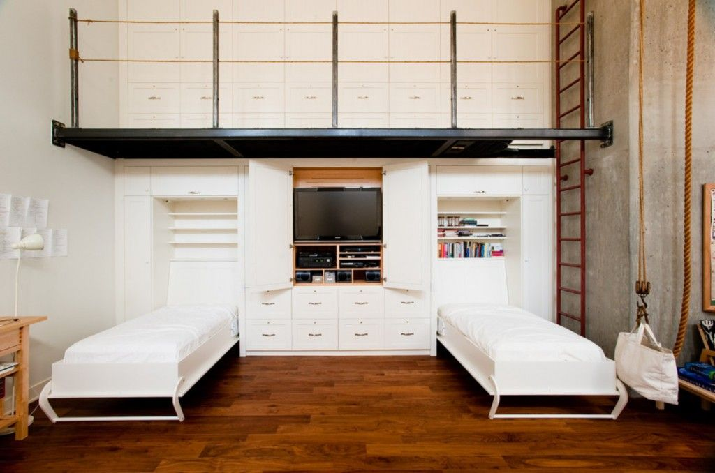 Built-in Bed Small Apartments Interior Design Solution. Original design for the kids` bunk beds in high condo