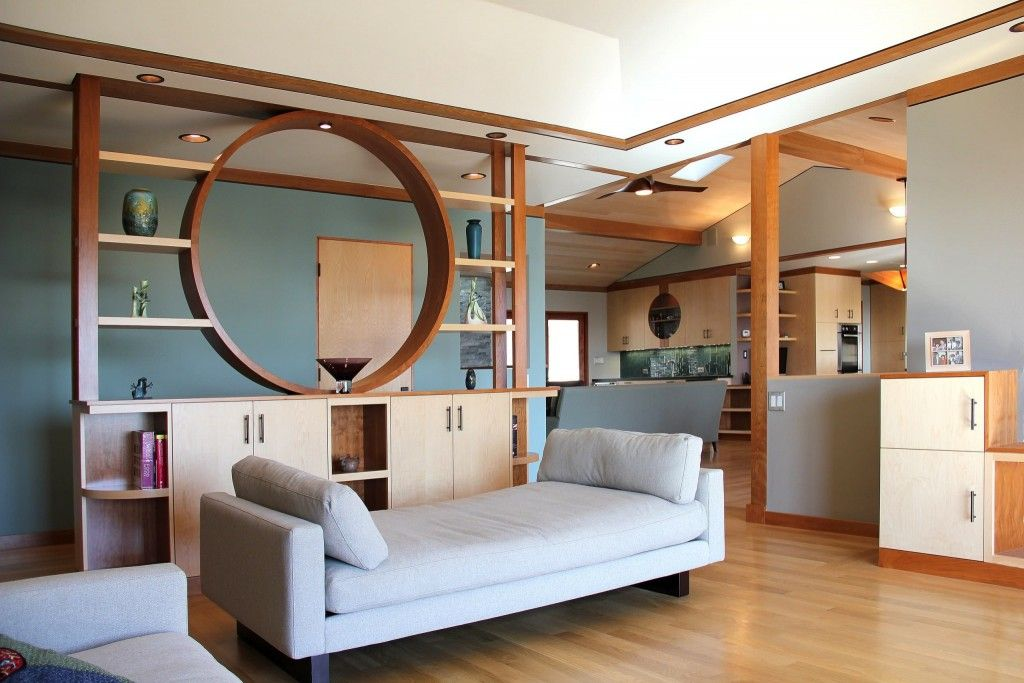 Interior Partitions Room Zoning Design Ideas. Wooden zoning construction in the living