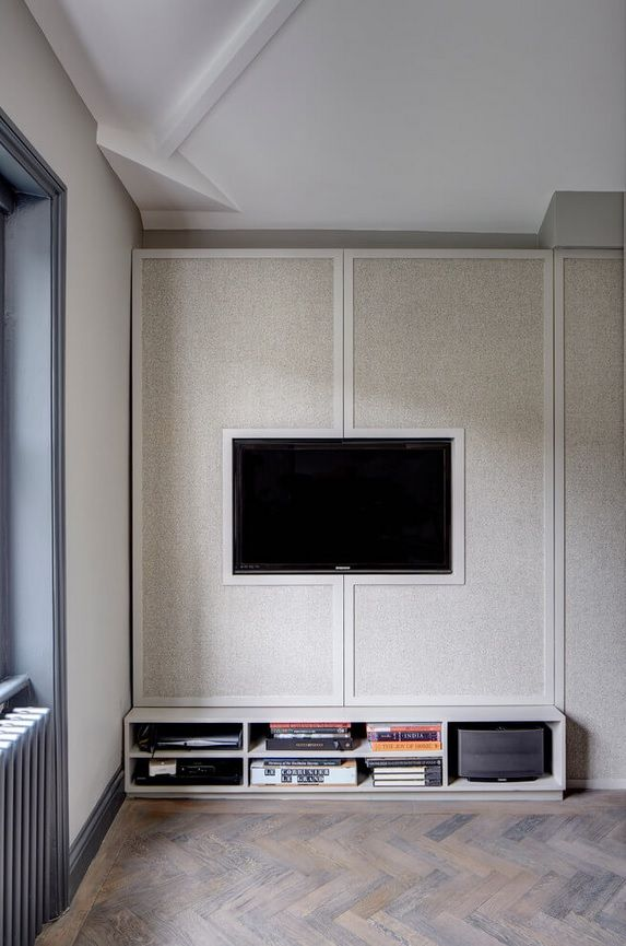 London Apartment Loft Style Interior Design. Cabinet for TV folded