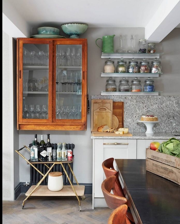 London Apartment Loft Style Interior Design. Kitchen interior in the light wooden palette