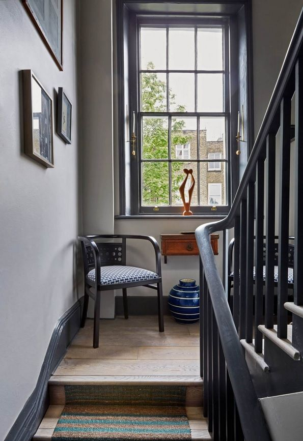 London Apartment Loft Style Interior Design in the stairs midsection