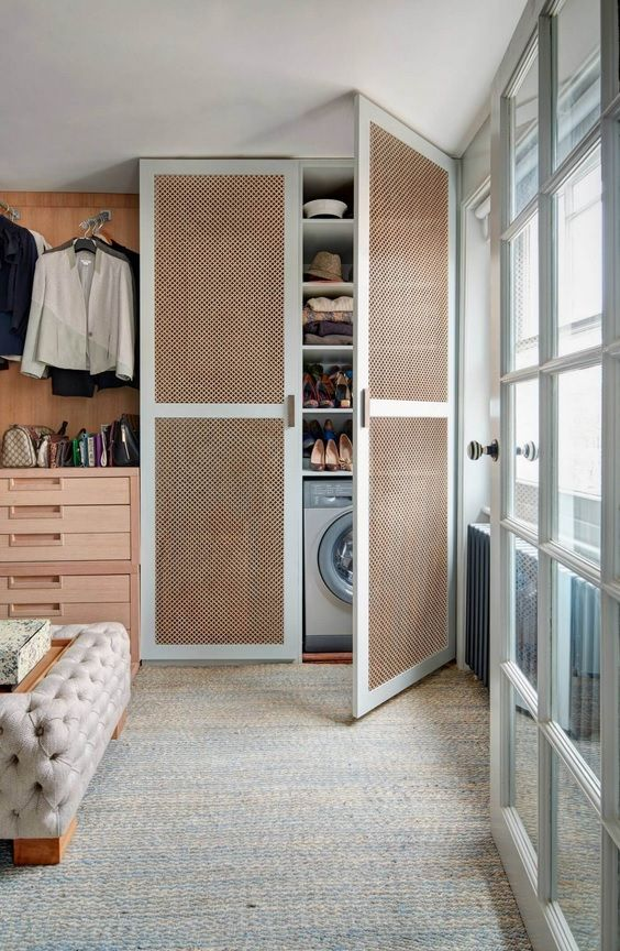 London Apartment Loft Style Interior Design. Cabinet for home goods and washing machine