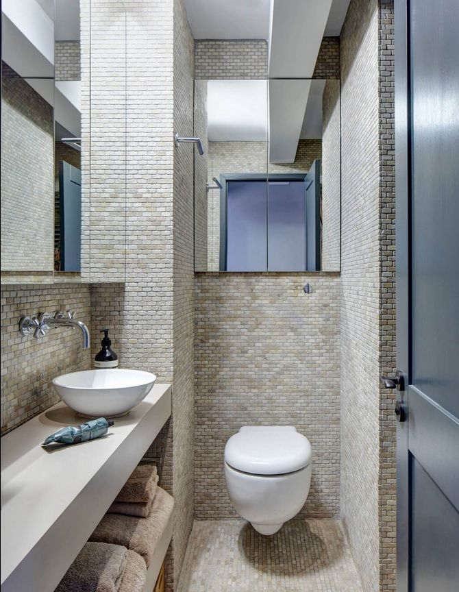 London Apartment Loft Style Interior Design. Bathroom and toilet combined. Small mosaic wall tile