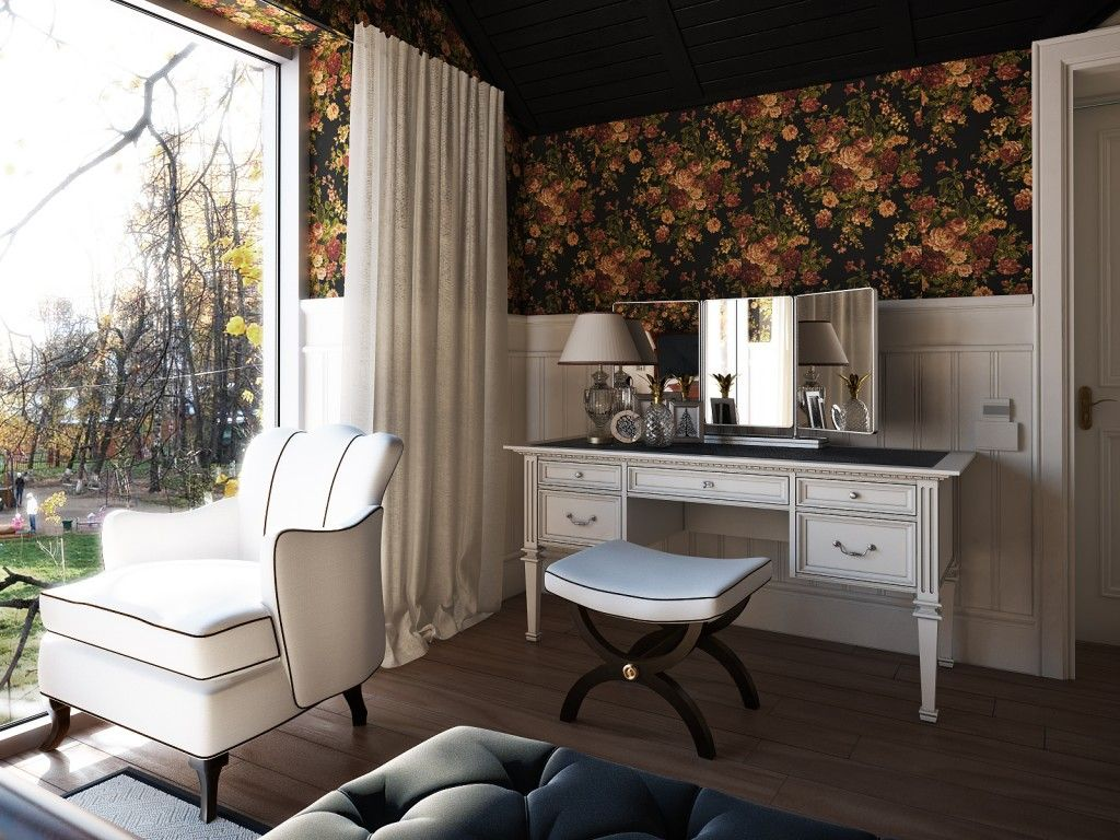 Women`s Personal Space: Boudoir Arrangement Ideas in the darl wallpapered interior