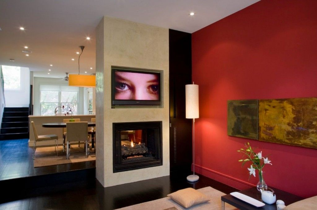 Red Color Interior Design Ideas. Accent wall in the living