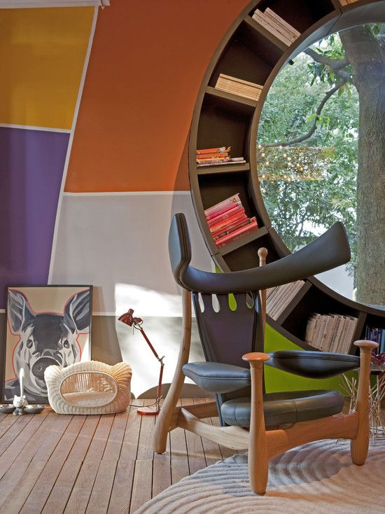 Nice Unusual Bookshelves Interior Decoration. futuristic interior design with paneled wallsm wooden chair and round bookshelf