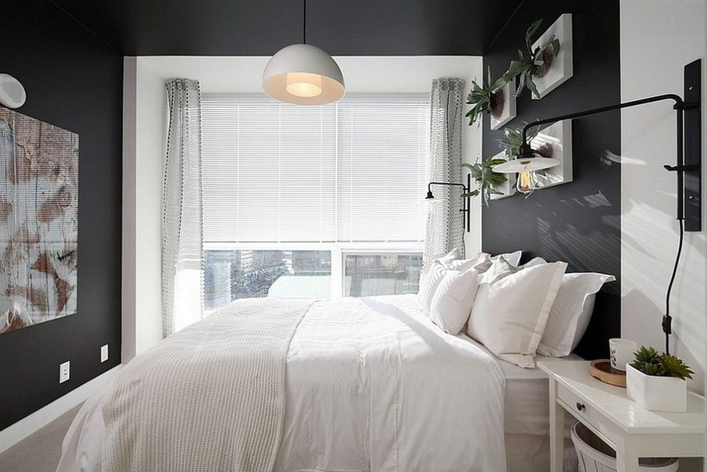 130 Square Feet Bedroom Interior Decoration Ideas. Modern small dark walled room
