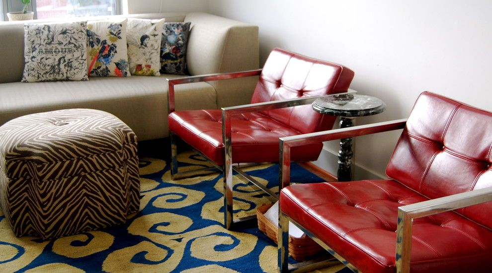 Red Color Interior Design Ideas. Two steel stools to emphasize agression and style of the hi-tech design in the living