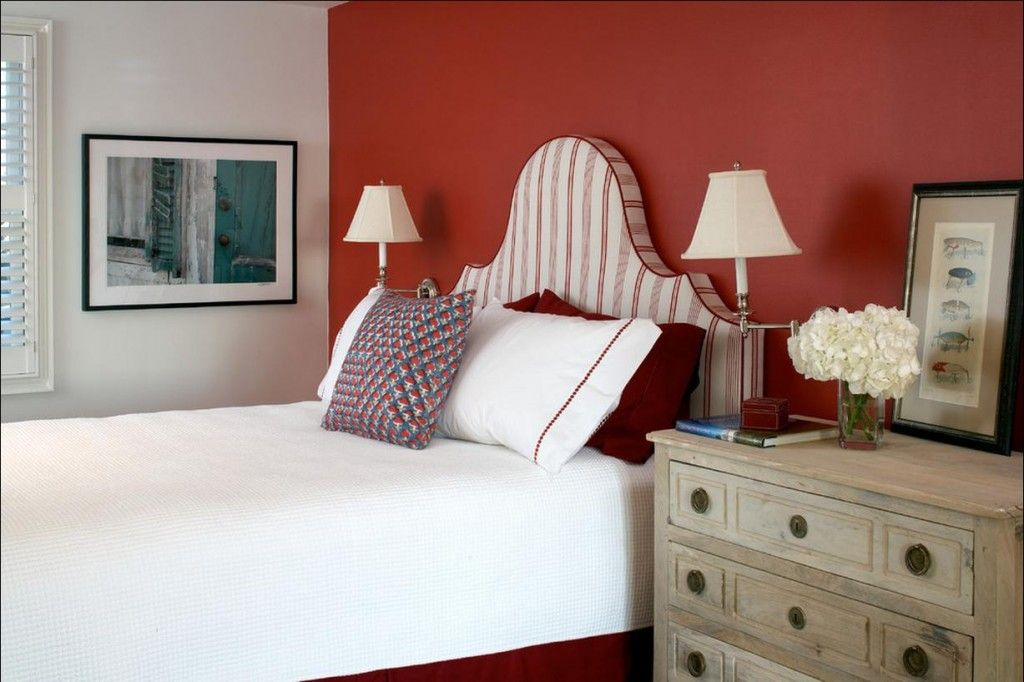 Red Color Interior Design Ideas. Bedroom with accent wall