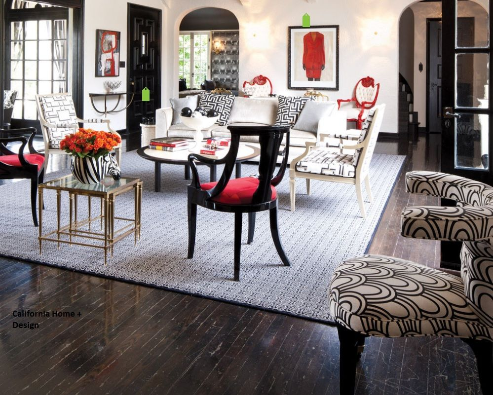 Red Color Interior Design Ideas. Picture, chair, flowers - small decorative elements rules