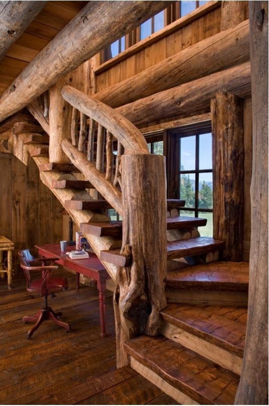 Interior Staircase Original Design Ideas. Small improvised home office under the stairs in rustic country house design