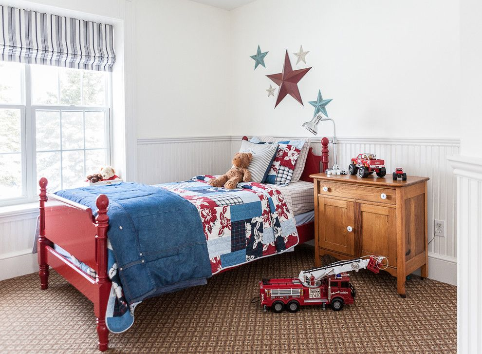 Red Color Interior Design Ideas. Kids` room with bright contrasting accents