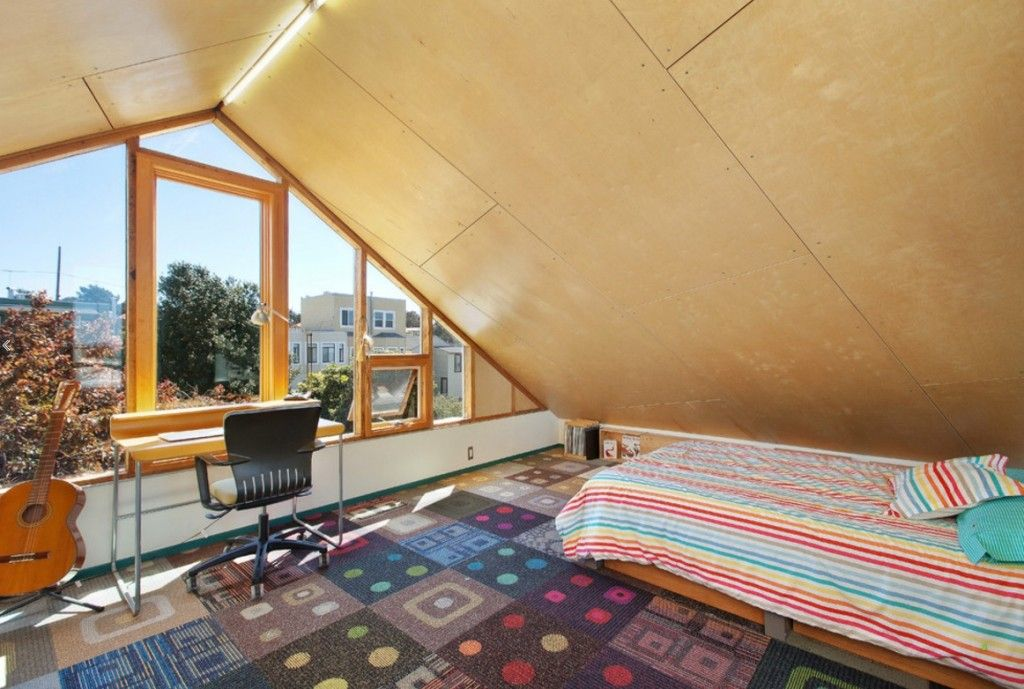 Rugs, Carpet, Carpeting Interior Design Ideas. Sloped ceiling in the modern apartment ditracts from the other succesful design solutions which made harmonious interior