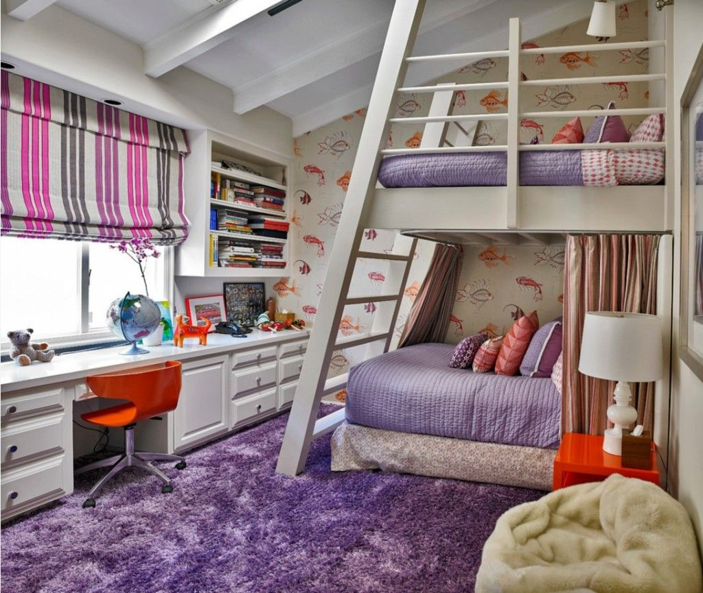 Rugs, Carpet, Carpeting Interior Design Ideas in the purple children`s with white bunk bed