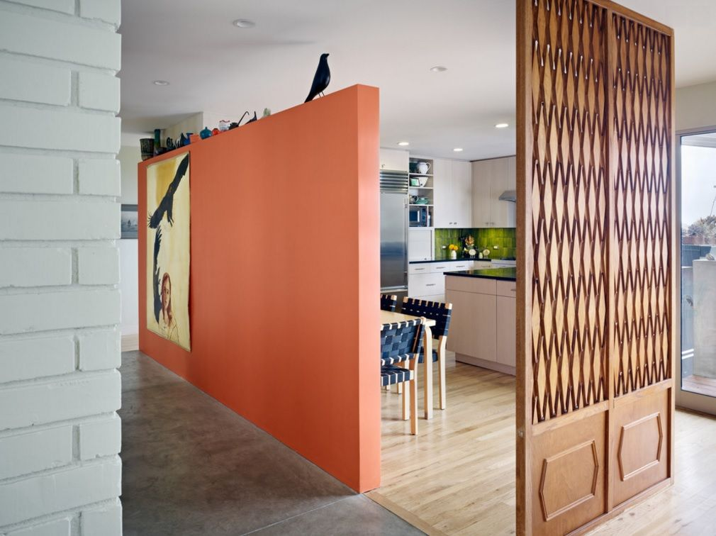 Interior Partitions Room Zoning Design Ideas. Wooden carved screen in the studio kitchen