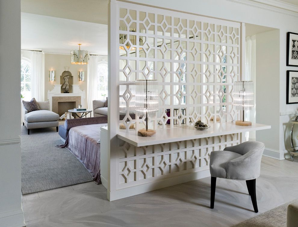 Interior Partitions Room Zoning Design Ideas. Decorative carving of the white divider