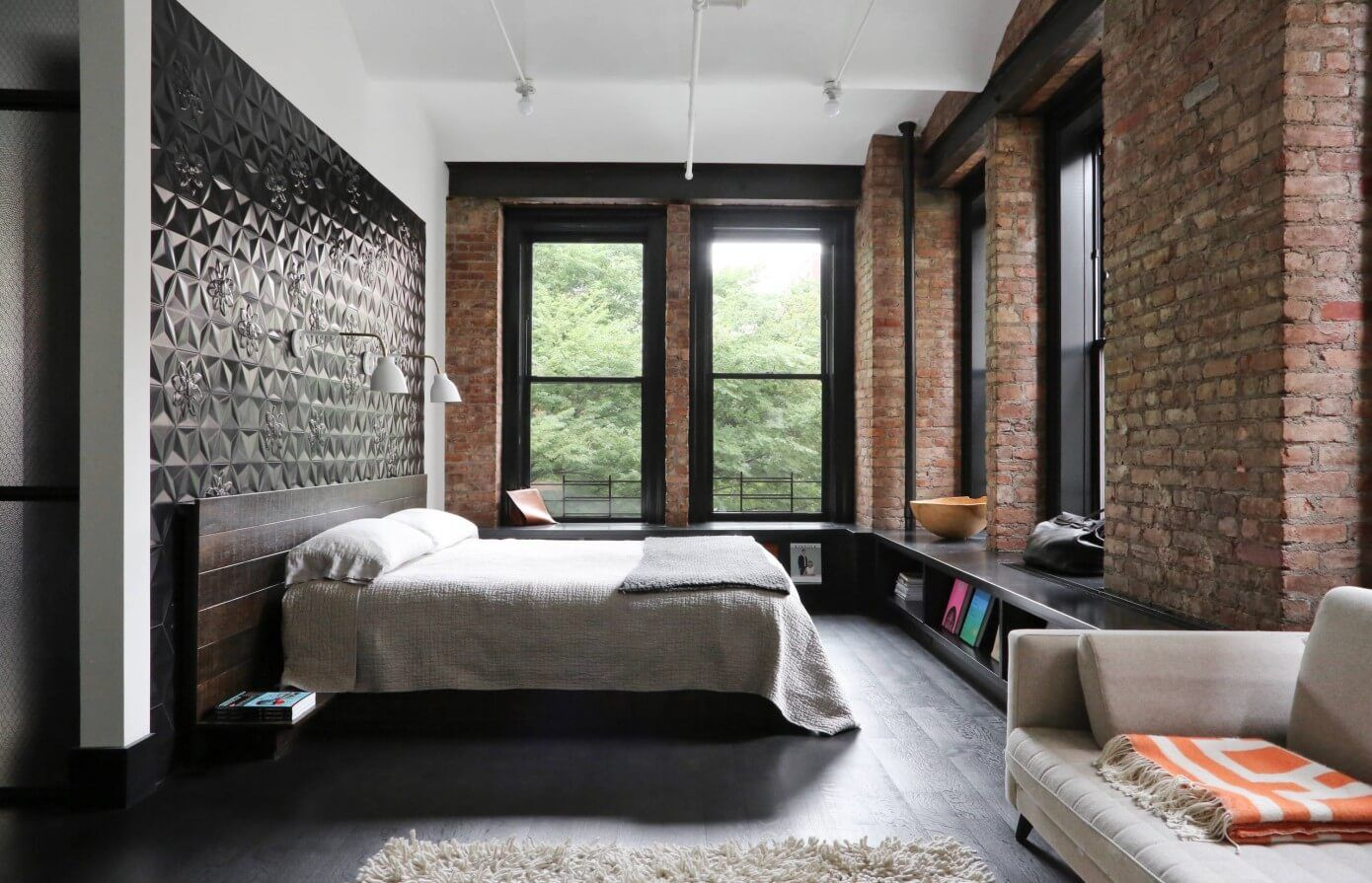 Modern Interior Design Laminate Use. Brickwork and dark accent wall in the loft bedroom