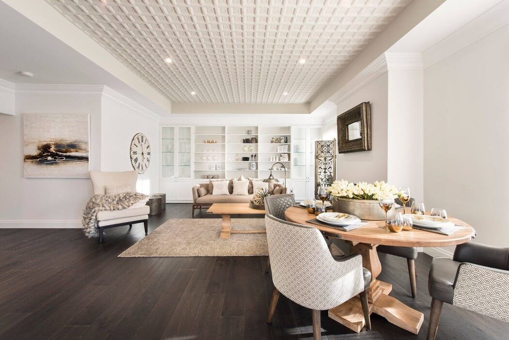 Modern Interior Design Laminate Use. Unusual design of the structure dceiling in the spacious living