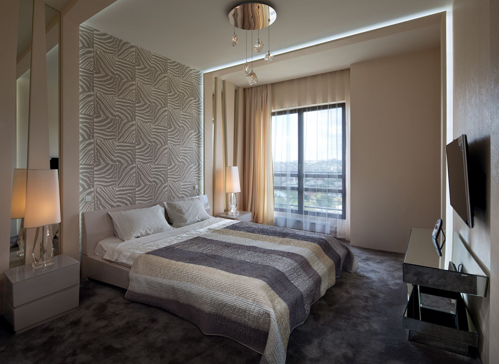 Interior Design Styles Combination in Modern Ukrainian Apartment. Bedroom atmosphere in pastel color theme and LED TV