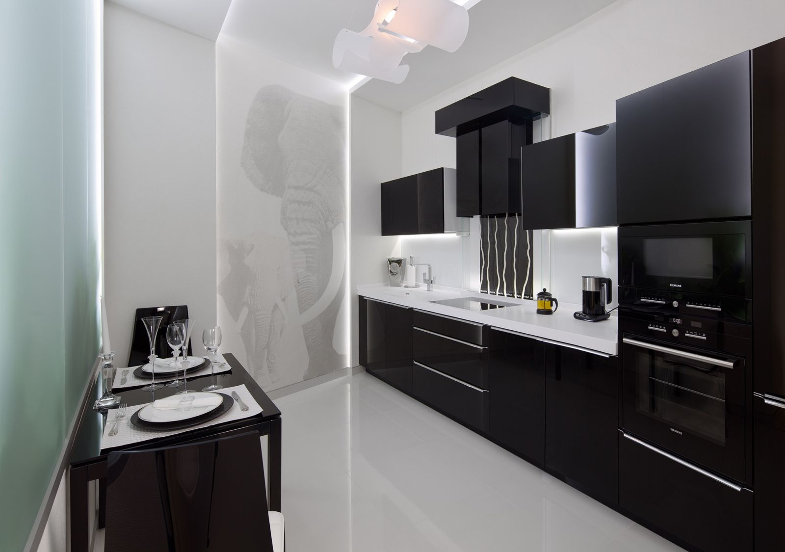 Interior Design Styles Combination in Modern Ukrainian Apartment. Kitchen with wall along layout and white/black contrast