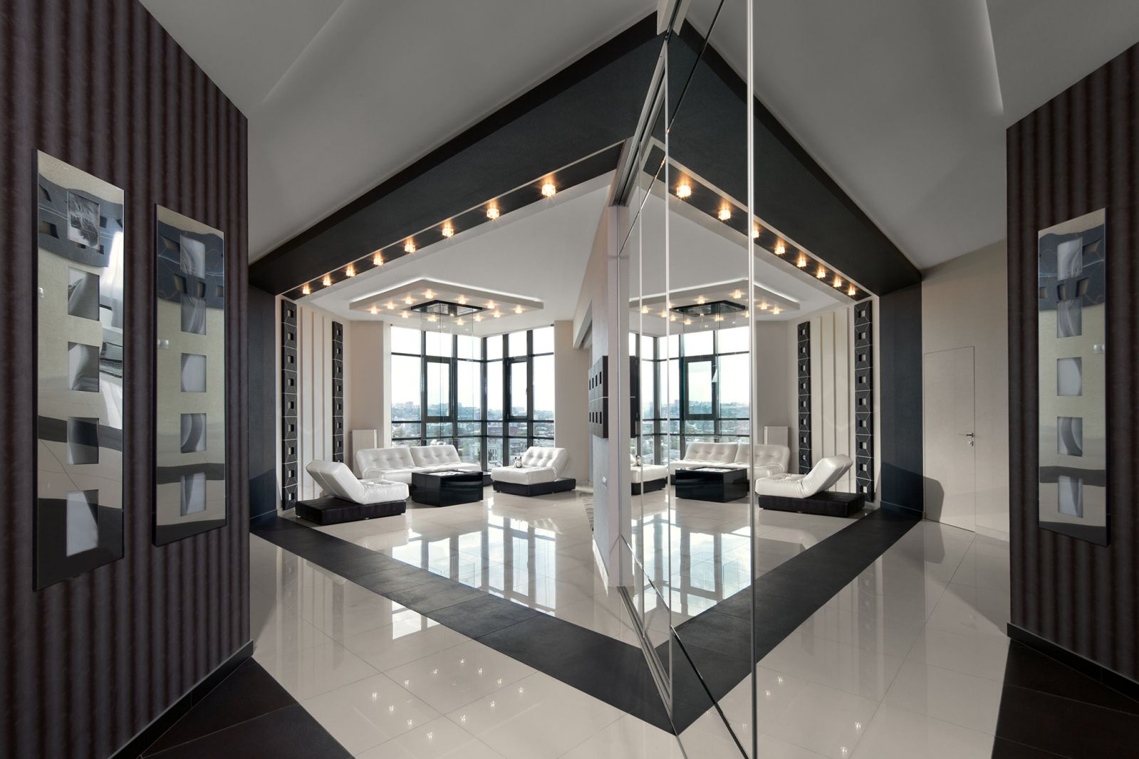 Interior Design Styles Combination in Modern Ukrainian Apartment. Unusual hallway into the living room with mirror wall