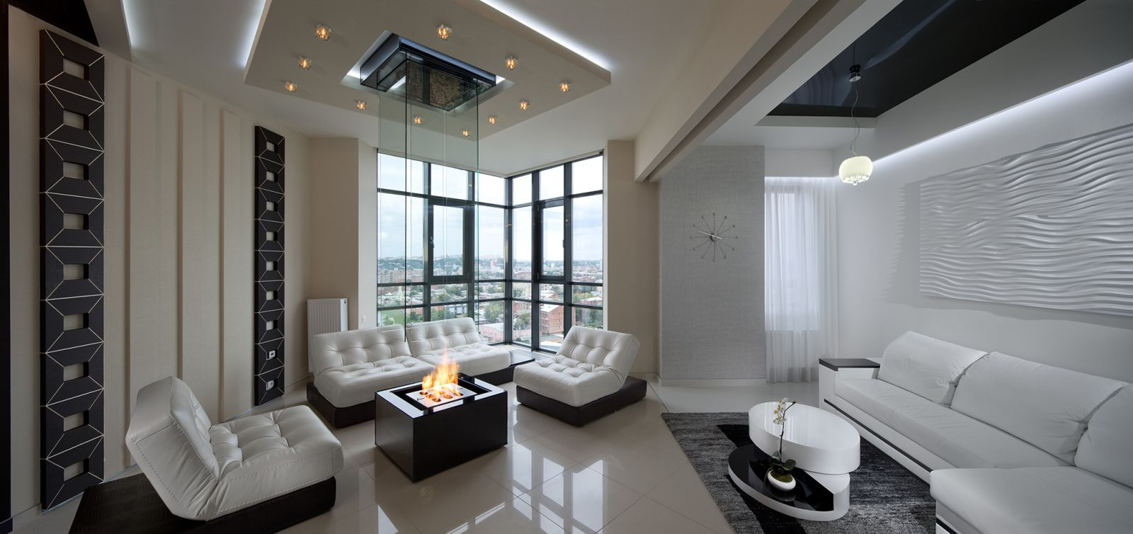 Interior Design Styles Combination in Modern Ukrainian Apartment. Living room with bio fireplace