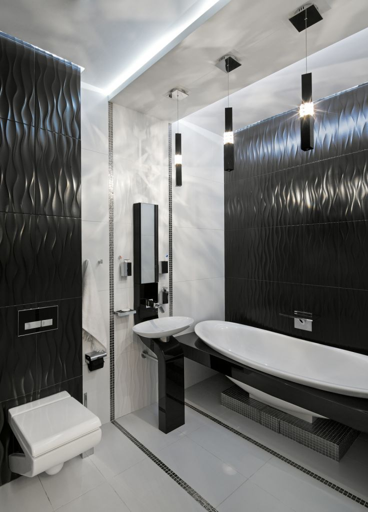 Interior Design Styles Combination in Modern Ukrainian Apartment. Bathroom ambience in the contemporary hi-tech style