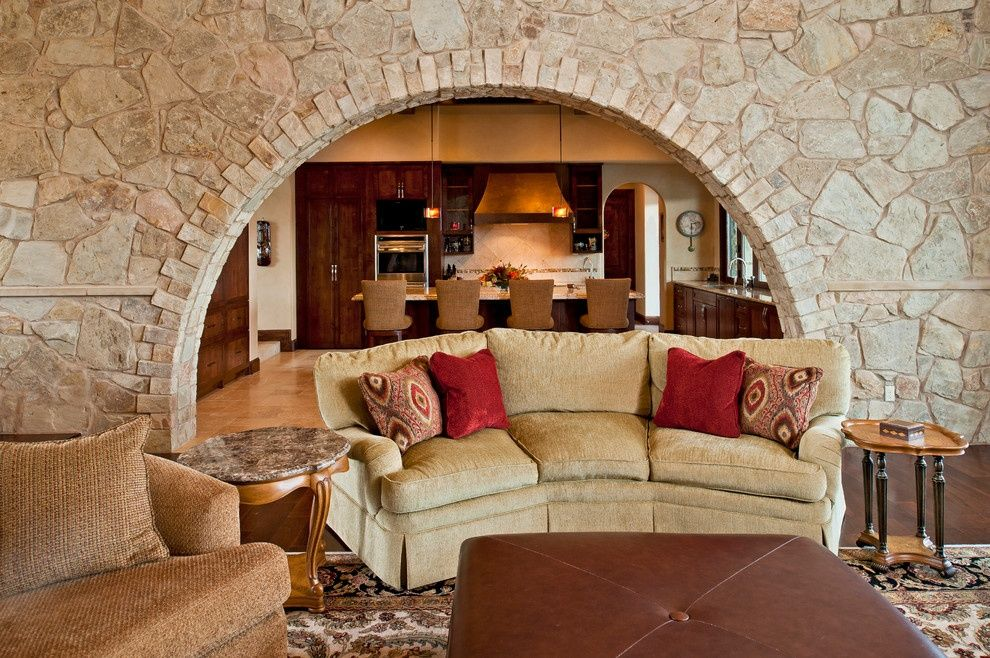 Interior Room Arches Decoration Ideas  Zoning arch of brickwork in real cozy house interior photo