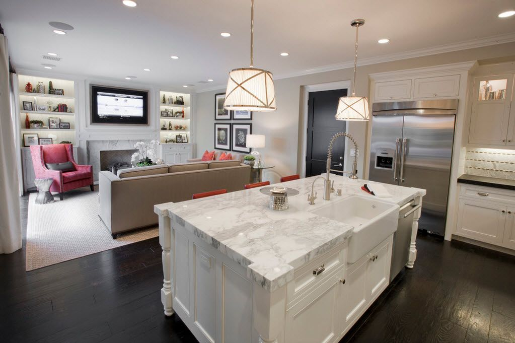Combined Kitchen and Living Room Interior Design Ideas. Luxury white marble island at the kitchen zone
