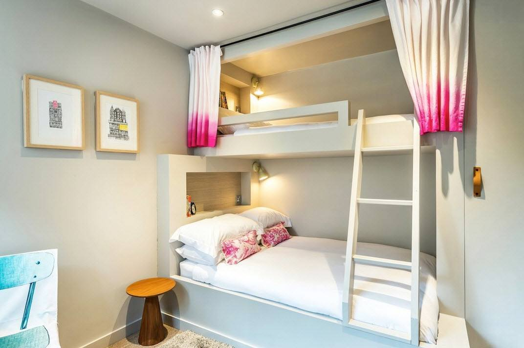 Scottish Apartment Unusual Country Interior Design. Bunk bed with gradient crimson curtains at the top level in endearing original minimalistic bedroom