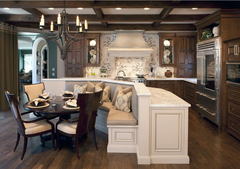 Combined Kitchen and Living Room Interior Design Ideas. Nice idea for the island separating dining zone from the kitchen and the living