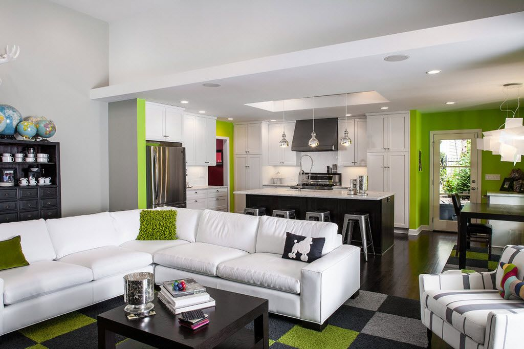 Nice design of the studio flat with bright lime accents