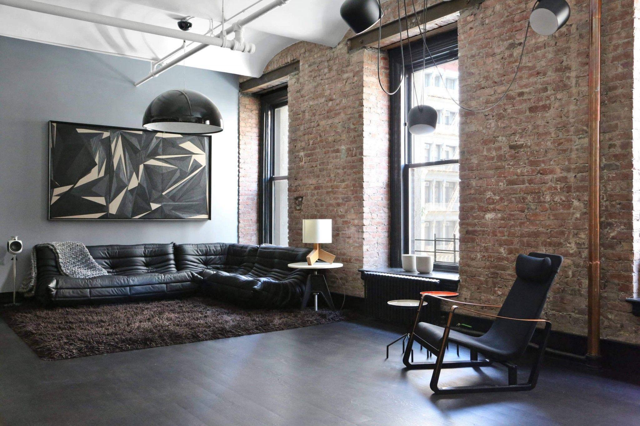 Modern Interior Design Laminate Use. Successfull loft style brickwork at the living room in NY