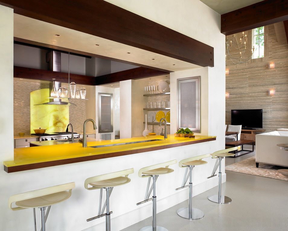 Combined Kitchen and Living Room Interior Design Ideas. Yellow counter and the small steel-stand bar stools at home