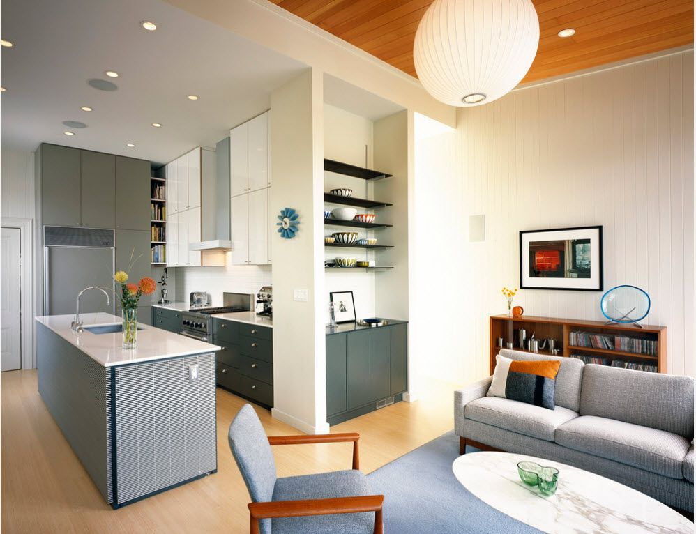 Colorful scenery of the combined kitchen living room in the studio apart