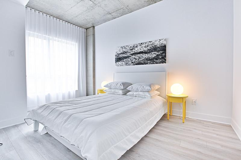 Modern Interior Design Laminate Use. Light type of material in the tender cozy bedroom