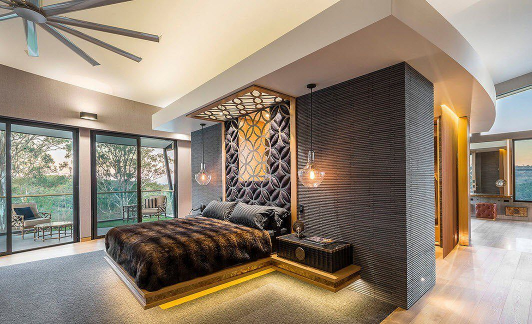 Bedroom Furniture Design Trends 2016 complex design using different deisgners` solution using 3-dimensional headboard, complex lighting, textured wallpaper and the backlight of the bed stand