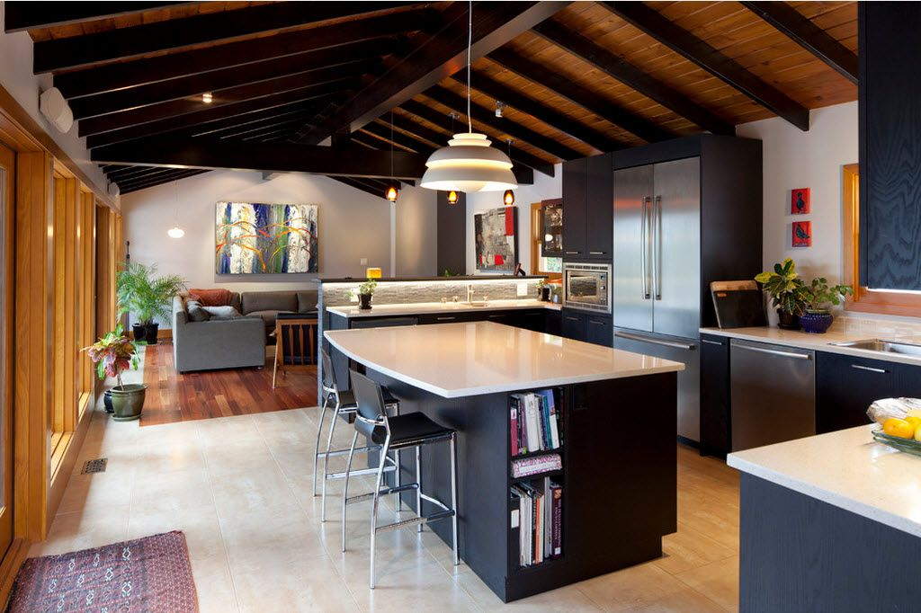 Combined Kitchen and Living Room Interior Design Ideas. Dark colors and open wooden beams at the ceiling