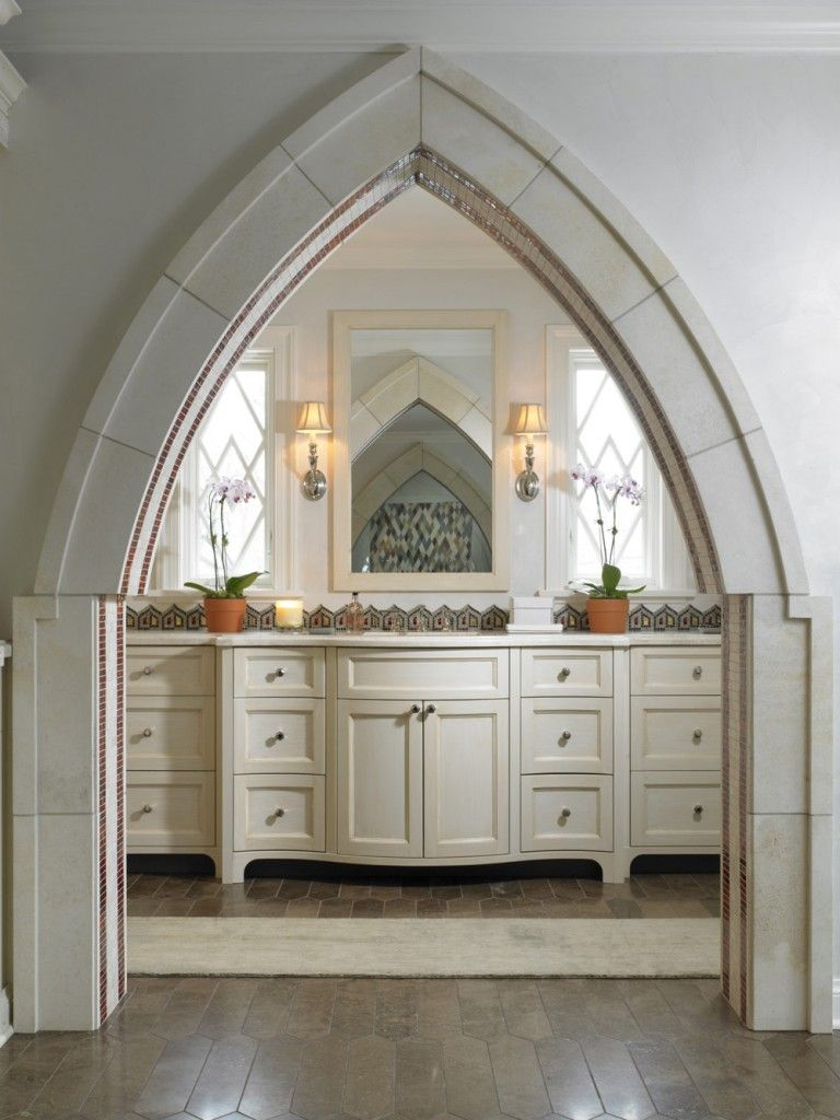 Interior Room Arches Decoration Ideas. Gothic sharp form of the design