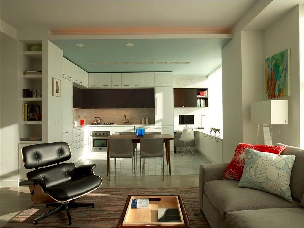 Combined Kitchen and Living Room Interior Design Ideas. Zoning with floor material between functional segments